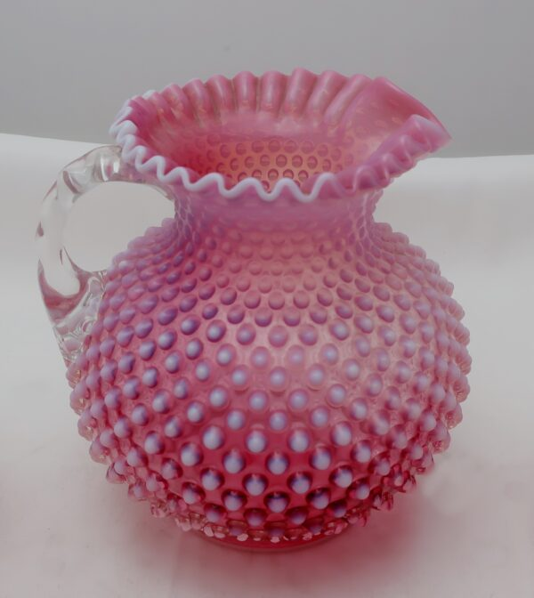 Fenton Cranberry Hobnail Pitcher and 8 Tumblers