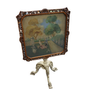 Antique Painted Tilt Top Table-Courting Scene