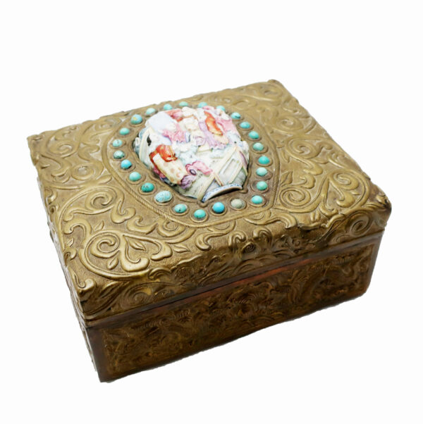 Chinese Metal Box with Cover-Decorative Insert