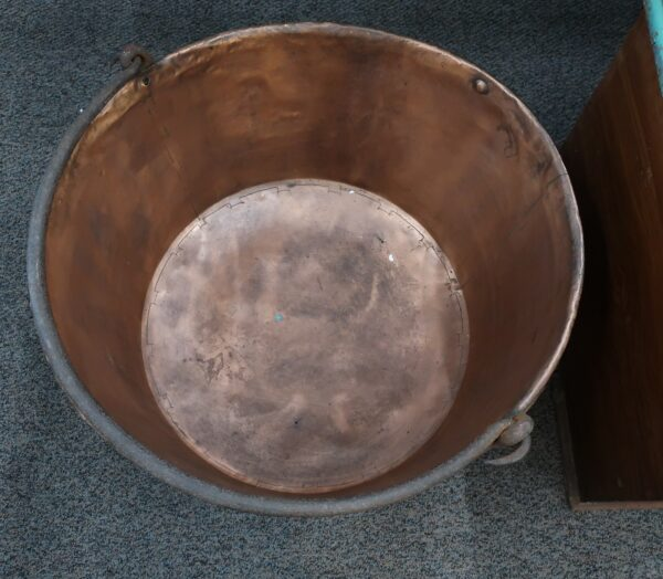 Large Copper Apple Butter Kettle-Hand Dovetailed