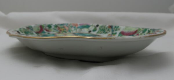 Antique Chinese 19th Century Famille Rose Porcelain Kidney Shaped Dish