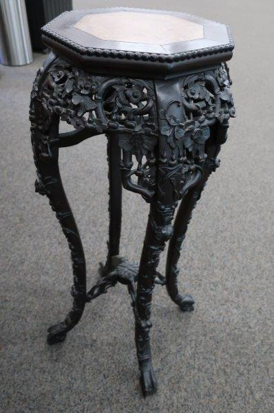 """Antique Oriental 36"""" Carved Wood and Marble Stand"""