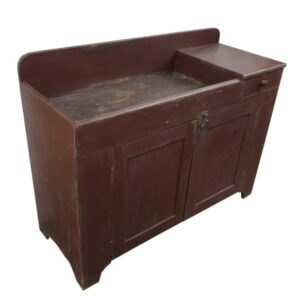 Red Painted Dry Sink with Drawer