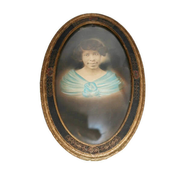 Antique Portrait of African American Woman in Blue Dress