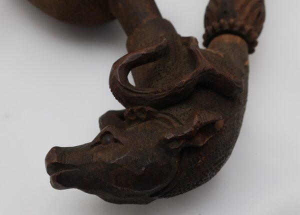 Black Forest Carved Wood and Stag Horn Pipe