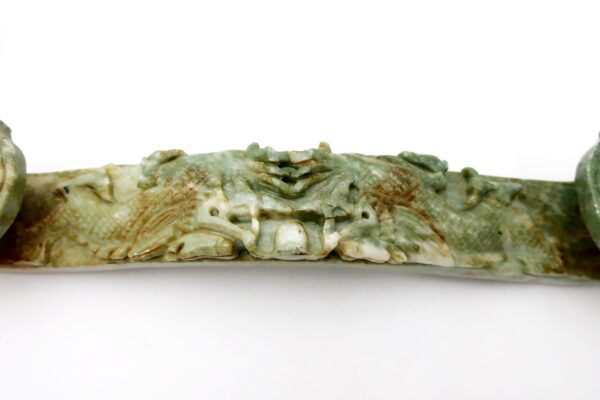 Chinese Carved Hardstone Ruyi Scepter with Dragons