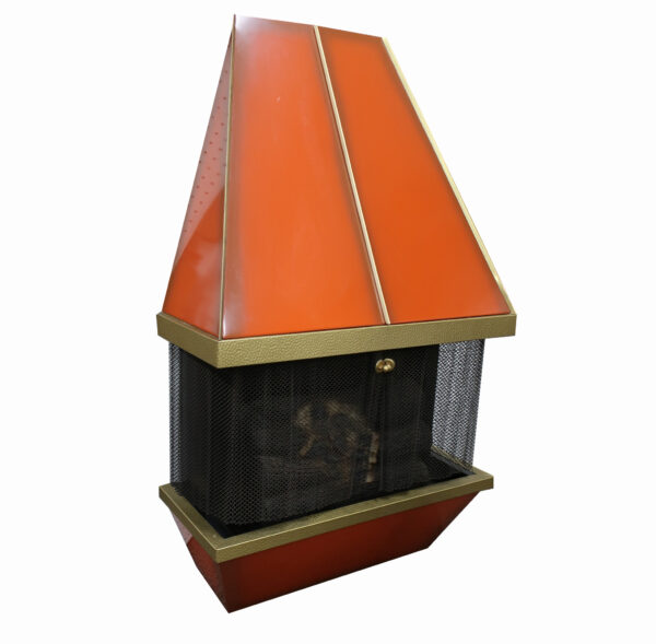 Mid Century Orange Metal Dyna Flame Electric Fire Place and Fan Heater