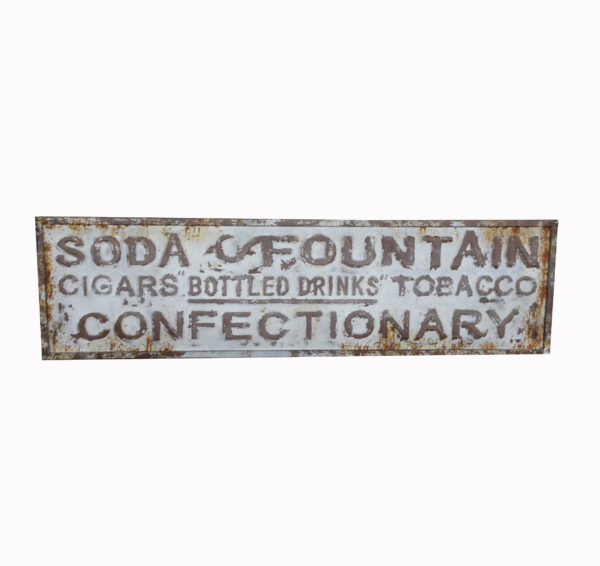Large Vintage Soda Fountain and Cigar Sign