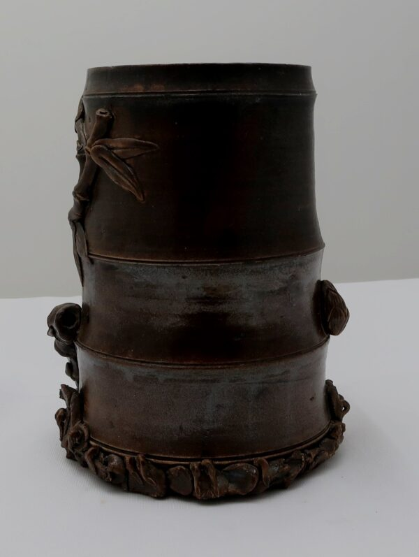 Signed Asian Ceramic with Applied Bamboo Brush Pot-Vase