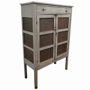 12 Tin Pie Safe with Drawer in Grey Paint