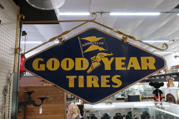 1940 Goodyear Tires Double Sided Sign with Original Hanger