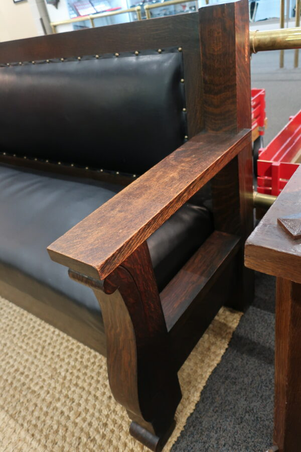 Vintage 8 Feet Wood and Leather Bench Seat