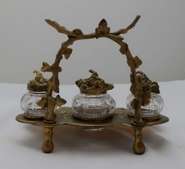 Antique Gilt Brass Ink Stand with Mother of Pearl Cups and Crystal Bottles