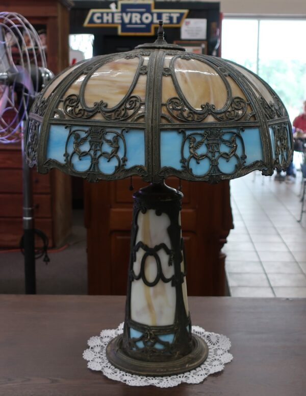 Glass Overlay Table House Lamp with Cherub Panels